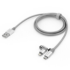 VERBATIM Lightning + Micro B USB Cable Sync & Charge 100cm (Silver), 2 in 1 cable