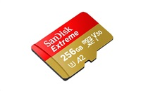 SanDisk Extreme microSDXC 256GB - 160MB/s R/90MB/s W, A2 C10 V30 UHS-I, Adapter