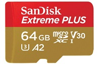 SanDisk Extreme PLUS microSDXC 64GB - 170MB/s R/90MB/s W, A2 C10 V30 UHS-I, Adapter
