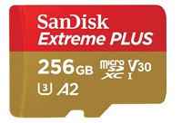 SanDisk Extreme PLUS microSDXC 256GB - 170MB/s R/90MB/s W, A2 C10 V30 UHS-I, Adapter