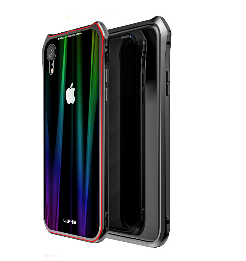 Luphie Aurora Snaps Magnetic Aluminium Hard Case Glass Black/Red pro iPhone XS Max