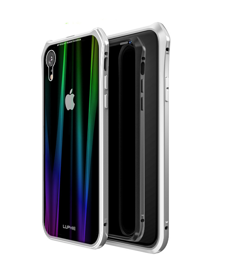 Luphie Aurora Snaps Magnetic Aluminium Hard Case Glass Silver/White pro iPhone XR