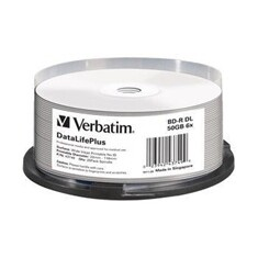 Verbatim Blu-ray BD-R DL [ Spindle 25 | 50GB | 6x | WIDE PRINT NO ID hard coat ]