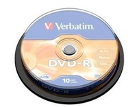 Verbatim DVD-R 4,7GB 16x, 10ks - média, AZO, spindle