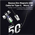 Baseus Zinc Magnetic Cable USB for Lightning 2.4A 1M Black