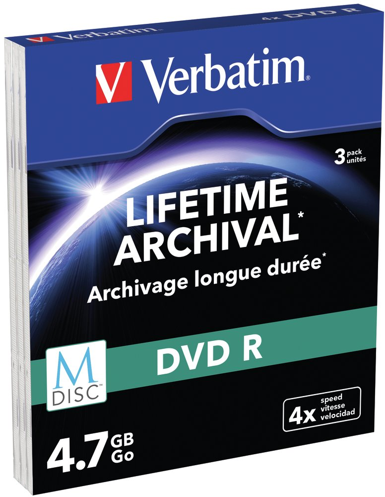 VERBATIM M-DISC DVD-R 4,7GB/ 4x/ MATT SILVER slim/ 3pack