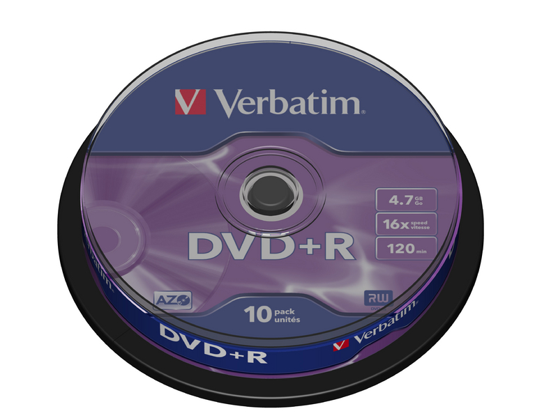 Verbatim DVD+R 4,7GB 16x, 10ks - média, AZO, spindle