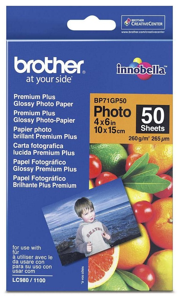 BROTHER fotopapír BP71GP50/ 10x15cm/ Premium Glossy/ 260g/ 50 listů