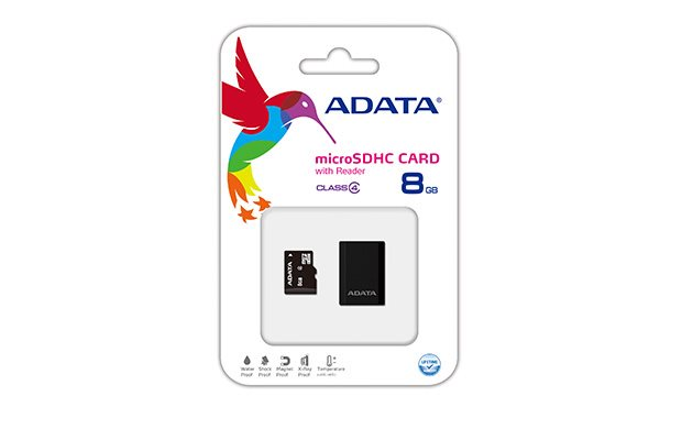 ADATA 8GB Micro SD SDHC class 4 with USB Card Reader V3 Black