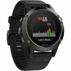 GARMIN GPS chytré hodinky fenix5 Sapphire Black Optic, Black band