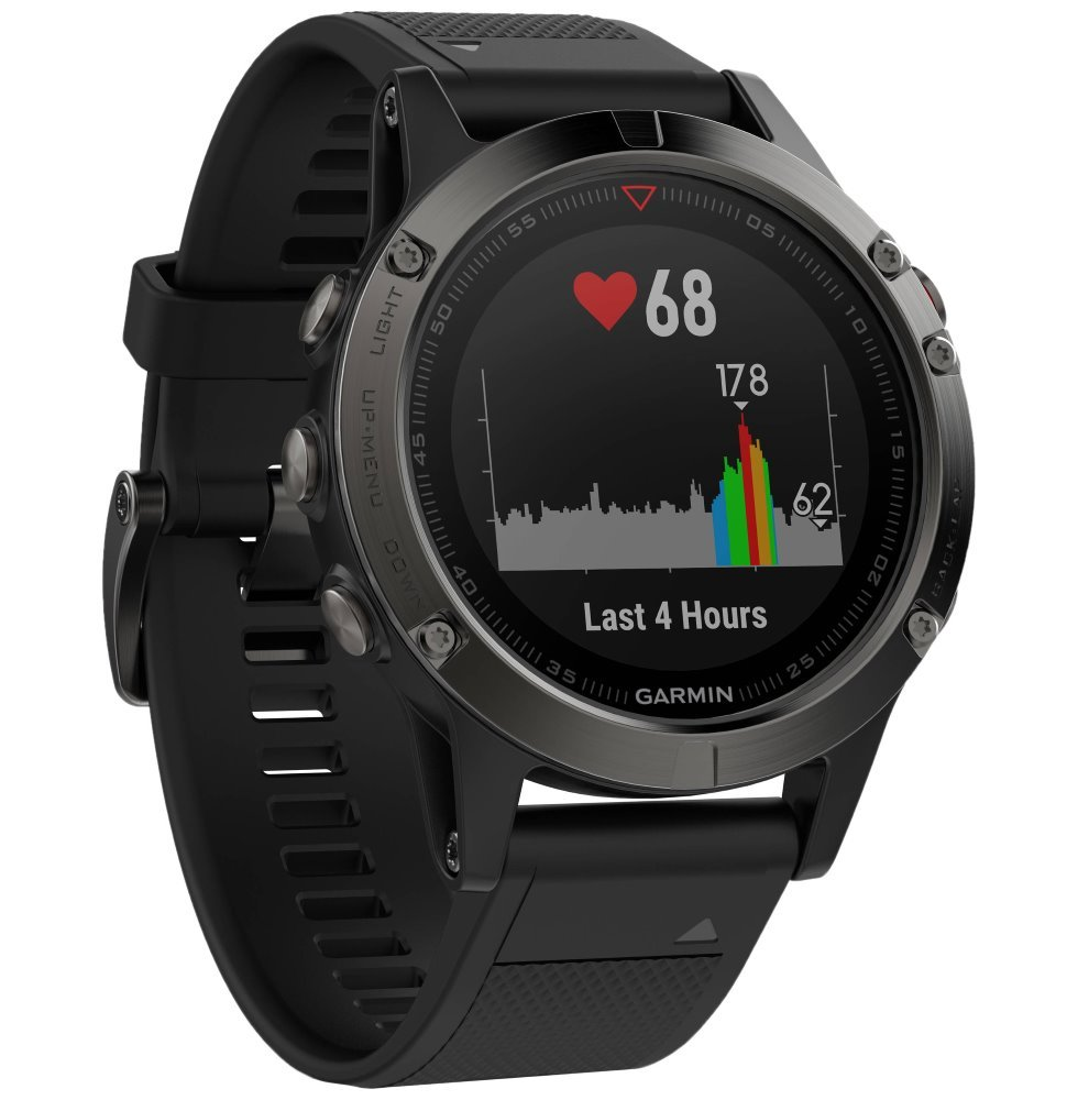 GARMIN GPS chytré hodinky fenix5 Gray Optic TRI Performer, Black band