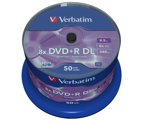 Verbatim DVD+R DL [ spindle 50 | 8.5GB | 8x | matt silver surface ]