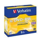 DVD+RW Verbatim 4,7GB 4x Jewel, 5-pack