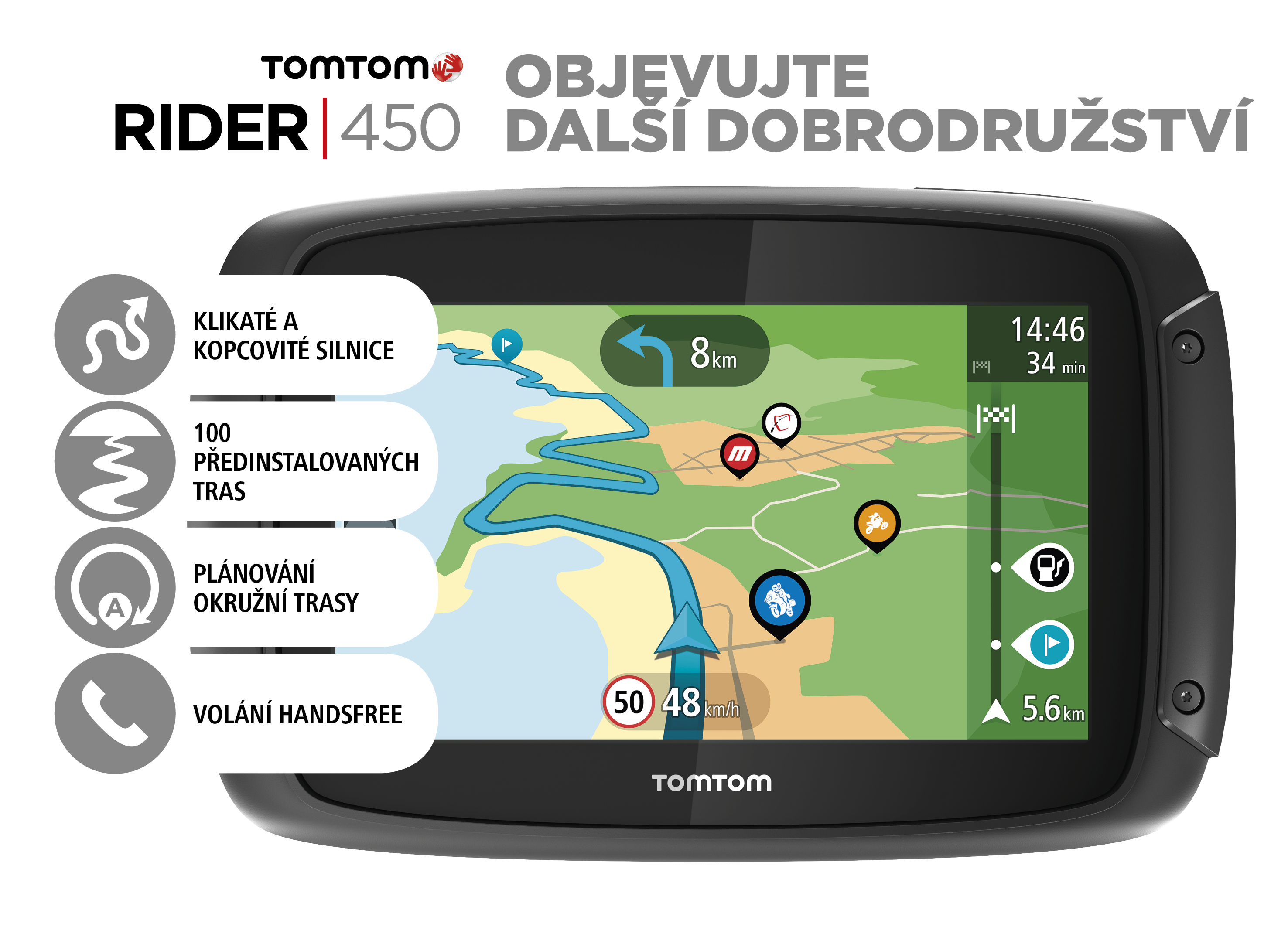 TomTom Rider 450 World pro motocykly Premium pack, LIFETIME mapy