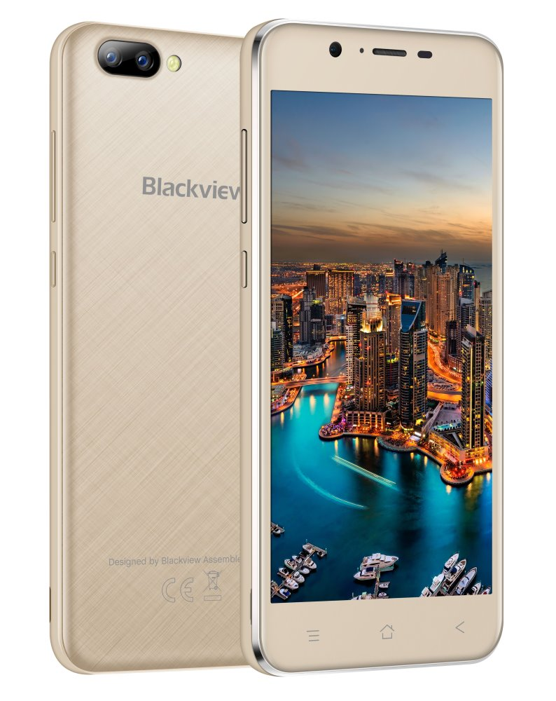 "iGET Blackview GA7 - Gold 5"" IPS 1280x720, QuadCore, Dual SIM, 1GB+8GB,8 MPx+5 MPx, 3G, Android 7"