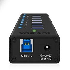IcyBox 7 x Port USB 3.0 Hub with USB charge port, Black