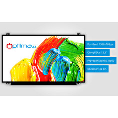 "OPTIMA LCD displej - 13.3"" 1366x768 40PIN Tenký Lesklý"
