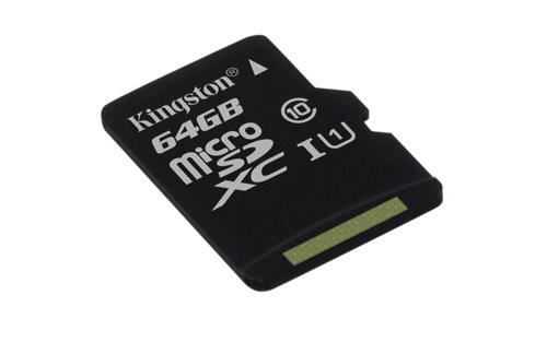 KINGSTON 64GB microSDHC CANVAS Memory Card 80MB/10MBs- UHS-I class 10 Gen 2 - bez adaptéru