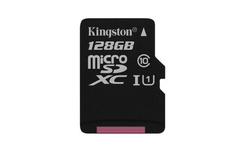 KINGSTON 128GB microSDXC CANVAS Memory Card 80MB/10MBs- UHS-I class 10 Gen 2 - bez adaptéru