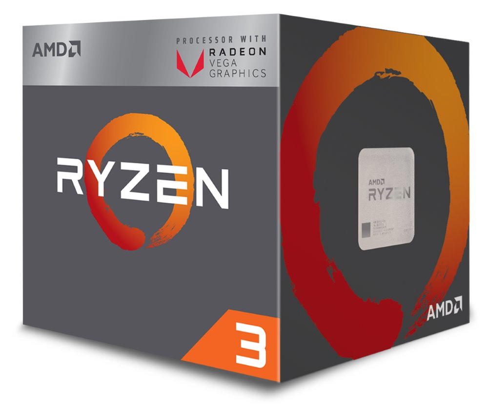CPU AMD RYZEN 3 2200G, 4-core, 3.5 GHz (3.7 GHz Turbo), 6MB cache, 65W, socket AM4, VGA RX Vega, BOX