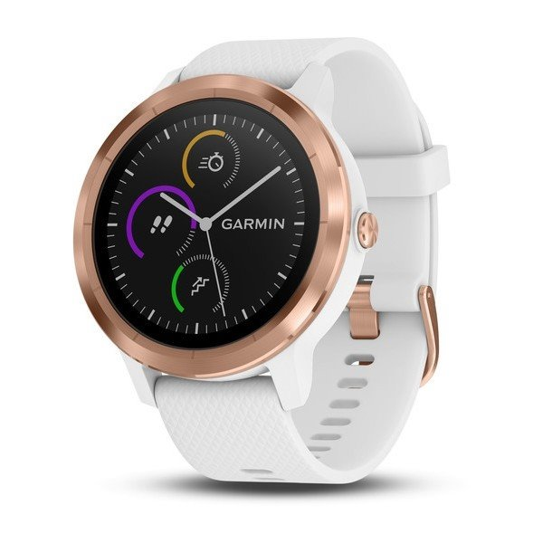 GARMIN GPS multisportovní hodinky vívoActive3 Optic Rose Gold, White band