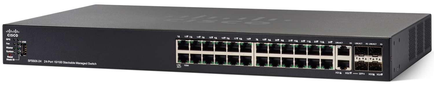 Cisco SF550X-24 24-port 10/100 Stackable Switch REFRESH