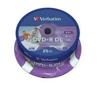 VERBATIM DVD+R(25-pack)/Spindle Double Layer 8X 8.5GB Inkjet Printable WIDE PRINTABLE SURFACE INVERSE STACK